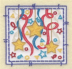 Stars Ribbon and Confetti Aapplique embroidery design