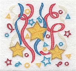 Stars Ribbon and Confetti embroidery design
