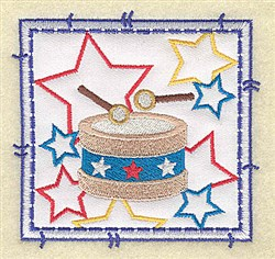 Drum and Stars Applique embroidery design