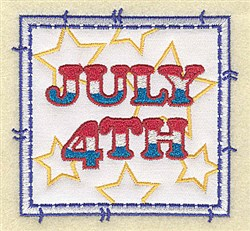 July 4th Applique embroidery design