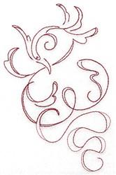 Redwork Swirl Bird embroidery design