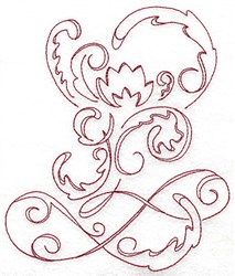 Redswork Swirl Plant embroidery design