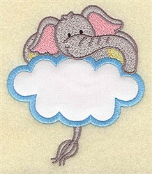 Elephant In Cloud Applique embroidery design