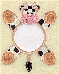 Cow In Circle Applique embroidery design