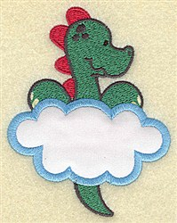 Dinosaur In Cloud Applique embroidery design