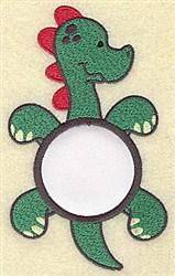 Dinosaur In Circle Applique embroidery design