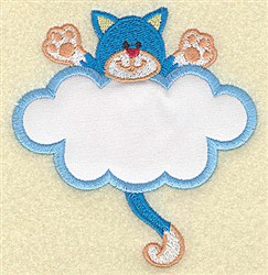 Cat In Cloud Applique embroidery design
