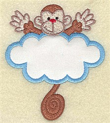 Monkey In Cloud Applique embroidery design