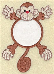 Monkey In Circle Applique embroidery design