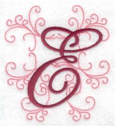 Swirl Monogram E embroidery design