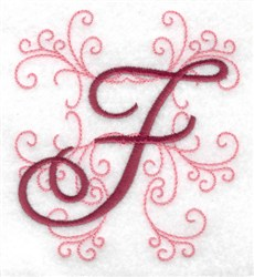 Swirl Monogram F embroidery design
