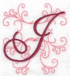 Swirl Monogram J embroidery design