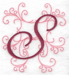 Swirl Monogram S embroidery design
