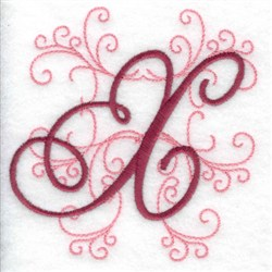 Swirl Monogram X embroidery design