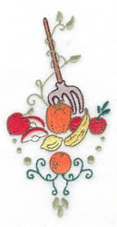 Pitchfork with fruit veggies and swirls embroidery design