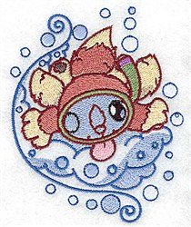 Squirrel Snorkeling embroidery design