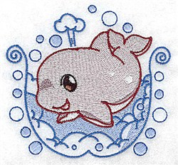 Bath Whale embroidery design
