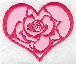 Heart Rose Applique embroidery design