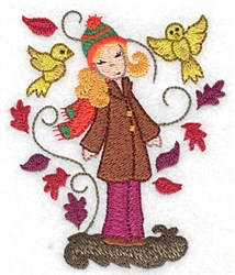 Woman with Birds embroidery design