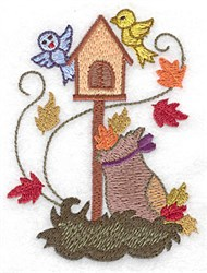Birdhouse with Leaf Bag embroidery design