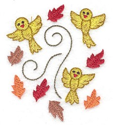 Birds and Leaves embroidery design