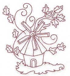 Windmill Redwork embroidery design