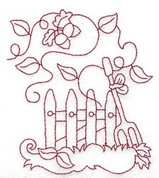 Picket Fence Redwork embroidery design