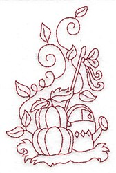 Pumpkins and Watering Can Redwork embroidery design
