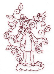 Woman with Birds Redwork embroidery design
