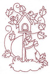 Birdhouse Redwork embroidery design