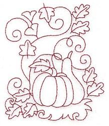 Pumpkin and Gourd Redwork embroidery design