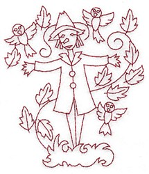 Scarecrow Redwork embroidery design