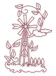 Weather Vane Redwork embroidery design