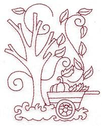 Pumpkin Wagon Redwork embroidery design