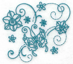 Butterfly and Flowers Redwork embroidery design