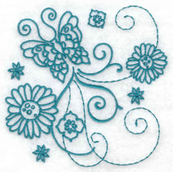 Flower & Butterfly Redwork embroidery design