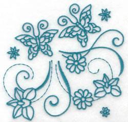 Butterflies & Flowers Redwork embroidery design