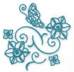 Butterfly and Swirls Redwork embroidery design