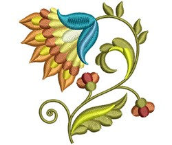 Jacobean Floral Bloom embroidery design