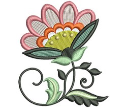Pink Jacobean Flower embroidery design
