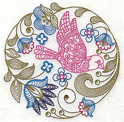 Jacobean Bird And Flowers embroidery design