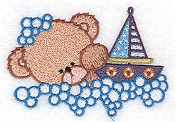 Bear With Sailboat embroidery design