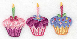 Three Cupcakes embroidery design