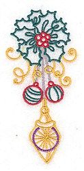 Holly & Ornaments embroidery design