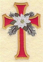 Poinsettia Cross embroidery design
