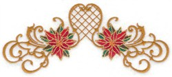 Two Poinsettia & Swirls embroidery design
