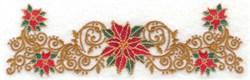 Poinsettias & Filigree embroidery design