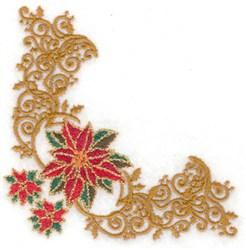 Filigree Poinsettia Corner embroidery design
