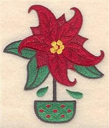 Poinsettia Pot embroidery design