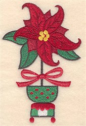 Poinsettia Pot embroidery design